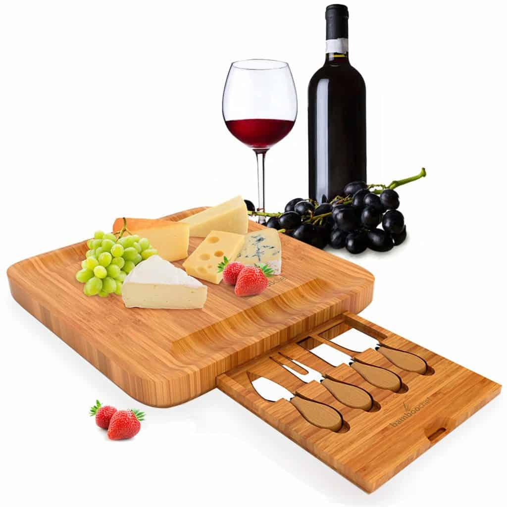 Bamboo Cheese Board Set with Cutlery – Includes Slide-Out Drawer with Stainless Steel Knifes and Server Set by Bamboochef