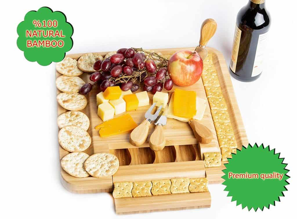 Natural Bamboo Cheese Board & Charcuterie Platter with a Hidden Drawer for Cutlery Set by OasisRetail