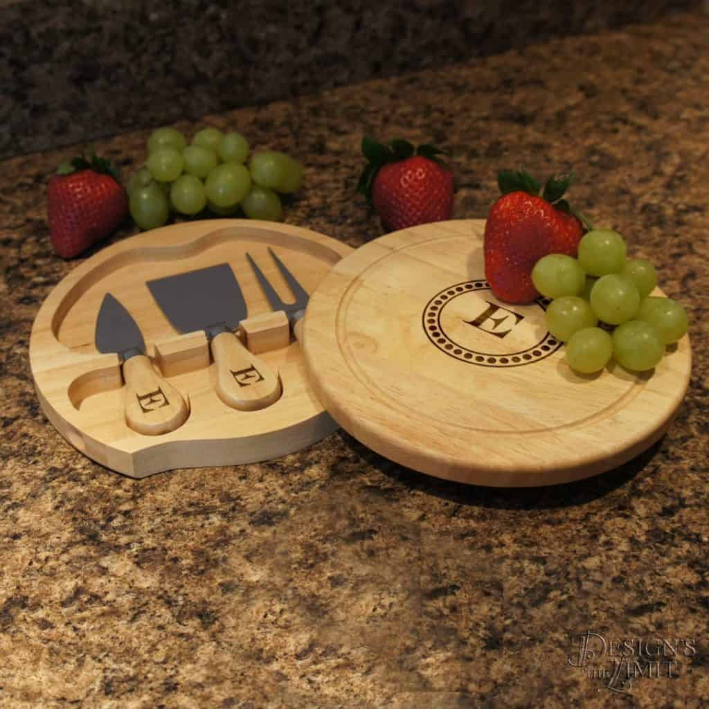 Personalized Cheese Board Set with Monogram and Design Options for Personalization by Design's the Limit