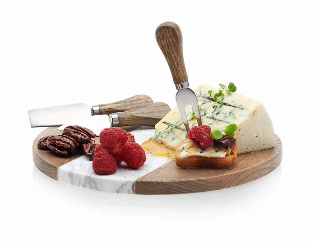 Prologue's Handcrafted Wood and Marble Cheese and Appetizer Board with 3 Wood-Handled Cheese Knives Set